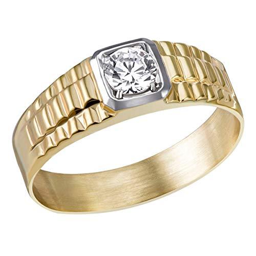 Goldmaid Herrenring 375 Gelbgold verbödet 4er Stotzen 1 Zirkonia (70 (22.3))