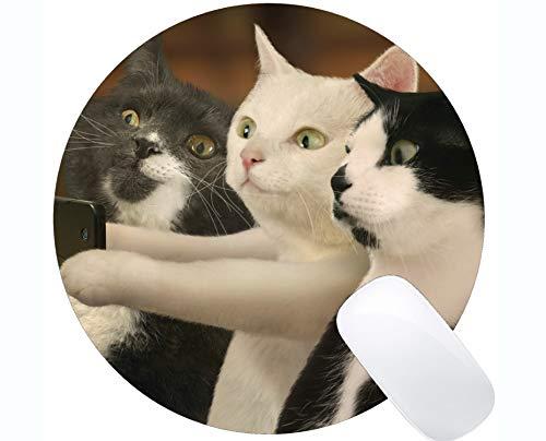 Yanteng Alfombrilla de ratn Redonda con Borde Cosido, Accesorios de computadora de Oficina en casa del Gato Activo Alfombrillas