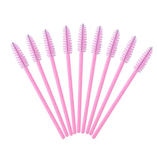 Frcolor 100pcs cils mascara baguettes extension de cils pinceau applicateur maquillage kits d'outils cosmétiques (rose)