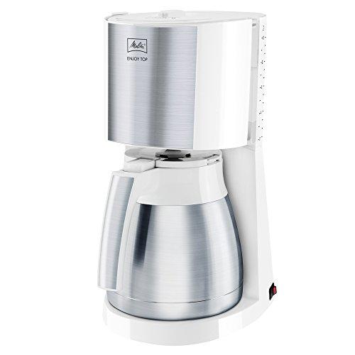 Melitta Enjoy Top Therm 1017-07, Filterkaffeemaschine mit Thermkanne, AromaSelector, Weiß Filter-Kaffeemaschine, Edelstahl, 1.2 liters