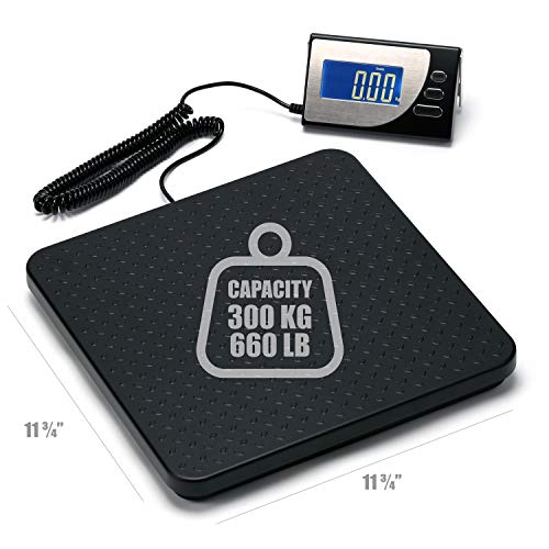 300 kg x 100 g Digital Industrial Shipping Scale, Cast Aluminum Platform, Backlit LCD, AC Adapter, Multiple Weight Units, Capacity: Max 300 kg (660 lb), Min 500 g (1.1 lb), Readability: 100 g (3.5 oz)