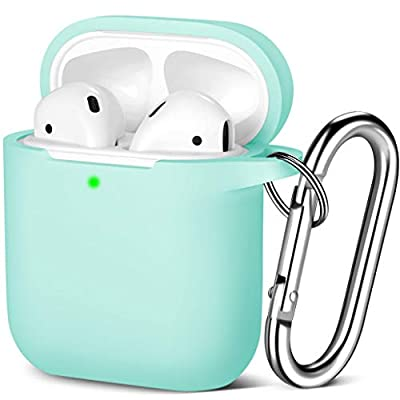 Maledan Compatible with Airpods Case 2 & 1, Silicone Shockproof Protective Airpod Skin Cover, Waterproof [Front LED Visible] Support Wireless Charging with Carabiner, BlueSea from Maledan