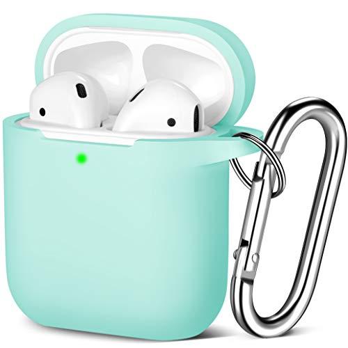 Maledan Kompatibel mit AirPods Hülle AirPods Case Apple Airpods 2 & 1, Voller Schutz Silikon Schutzhülle (Front LED Sichtbar) mit karabiner, Blaues Meer