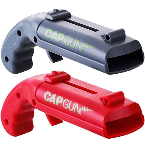 Apribottiglie a forma di pistola, SZRWD, apribottiglie per bottiglie di birra, confezione da 2 pezzi, cavatappi per vino, cavatappi per casa, bar, feste (rosso e blu)