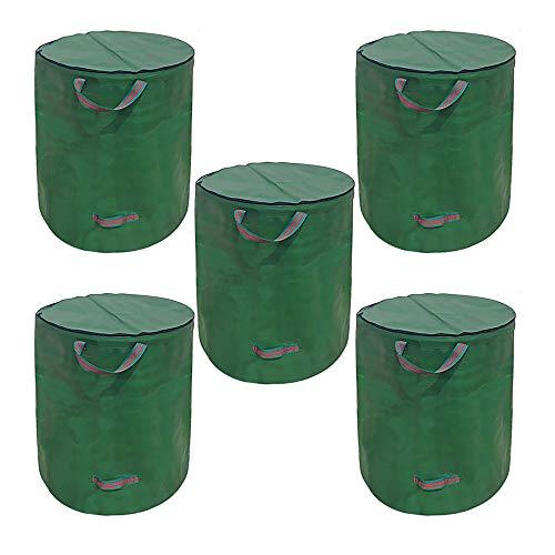 Rasentaschen, Gartenabfallsäcke, Abfallsäcke mit Griffen, wiederverwendbar, reißfest, faltbar, einfach zu befüllen und robust, extra Griff an der Unterseite zum Kippen, 272 l, 76 cm, 67 cm (5)