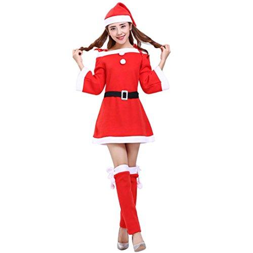 Elecenty Kleid Damen Cosplay Partykleid,Weihnachten Drucken Lange Frauen Schick Kleider Gürtel Gamaschen Hut Set Weihnachtskleid Christmas Halsausschnitt Minikleid Rock Kleidung (S, Rot)
