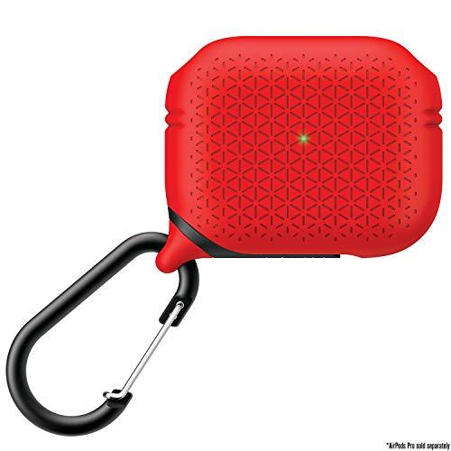 Catalyst Unterwassergehäuse für AirPods Pro Premum Edition Skin, für AirPods Pro Aufladetasche, stoßfest, Schutzhülle, Karabiner, kompatibles kabelloses Aufladen - Rot