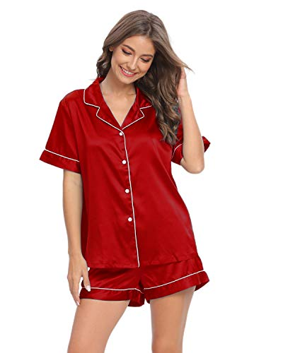 GOSO Pijama de Mujer con Botones y Mangas Cortas