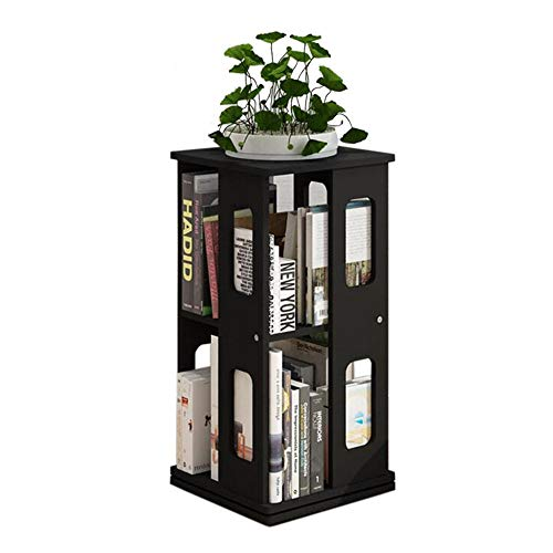 Jcnfa-Shelves Rotating Bookshelf Childrens Storage Bookshelf Easy Access Your Little Reader (Natural) Freestanding Bookcase (Color : Black, Size : 13.3813.3827.55in)