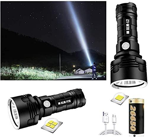 LED Flashlights High Lumens, High Power 30000-100000 Lumens Waterproof Led Flashlight, Torch Flashlight For Camping Hikin, 3 Light Modes Flashlight P70 ✅