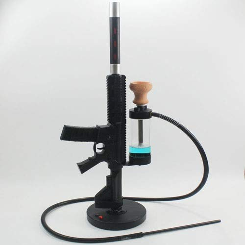 WJMT Große Shisha Shisha Set M416 Wasserrohr LED Shisha Zubehör Komplett EIN Schlauch Silikon Tabakkopf Carbon-Tongs