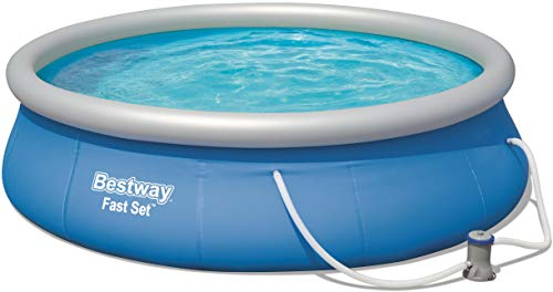 BESTWAY 57321 Fast Pool Set Piscine Hors-Sol avec Pompe filtrante Bleu 396 x 84 cm
