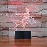 Un Anime Pokémon Glace Ito veilleuse veilleuse 3D illusion 16 couleurs base en ABS LED Décoration interrupteur tactile...