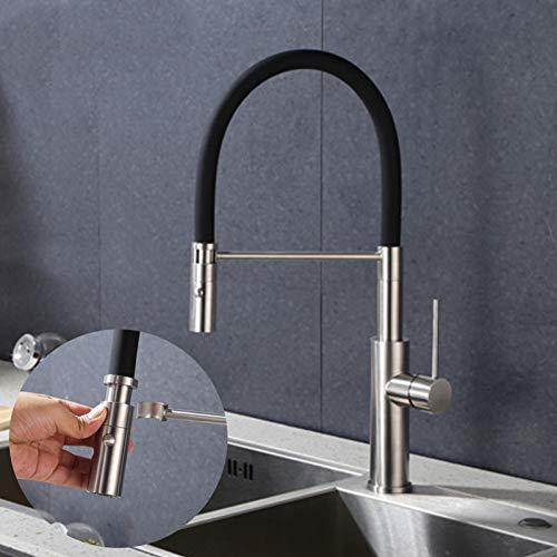 TNR Grifos de cocina Acero inoxidable Extraíble Cubierta Monomando para fregadero Grifo de cocina Grifo de agua potable Cascada Grifo de cocina