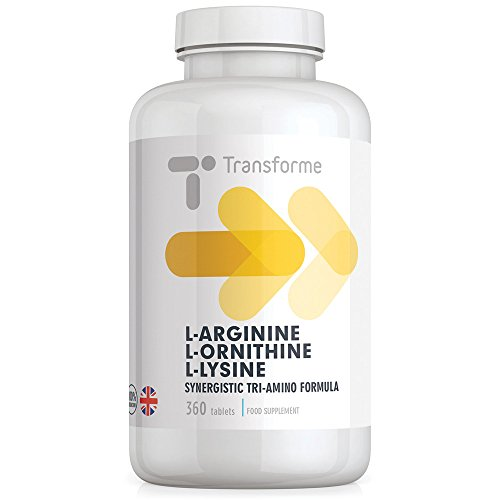 L-Arginine L-Ornithine L-Lysine 360 Tablets, Highly Absorbable Free Form Amino Acids, Gluten Free, by Transforme