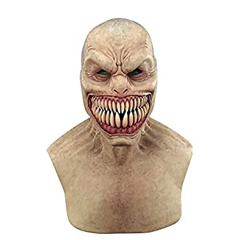 HEITIGN Scary Full Head Mask Novelty Latex Horror Masks Halloween Clown Face Cover Devil Face Cover Terror Creepy Gagtooth Demon Face Cover for Halloween Cosplay Play Jokes Easter Carnival
