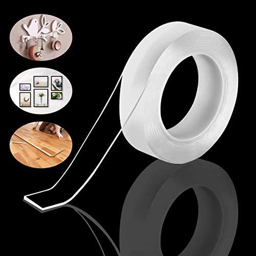 GTIWUNG 2 Rollos Cinta Adhesiva Fuerte Doble Cara,Transparente Antideslizante, Reutilizable, Multifuncional Nano Tape, Lavable, Universal Puede Adherirse a Celular/Llaves/Herramientas de Cocina