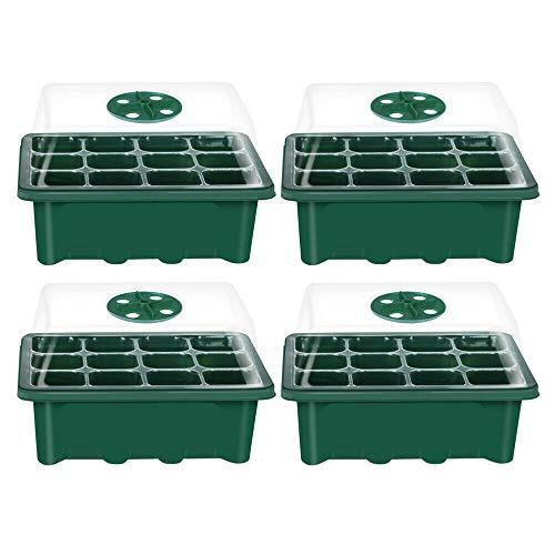 YDZXB 12 Anzuchttöpfe Zimmergewächshaus Anzuchtkasten Mini Gewächshaus Anzuchtset Treibhaus Anzuchtschale mit Deckel und Belüftung Anzucht Schale Töpfe für Saatgutkeimung und Pflanzenwachstum (Grün)