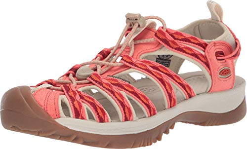 KEEN Women's Whisper Sandal, Safari/Coral, 6.5 M US