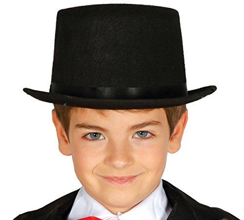 Guirca Schwarzer Zylinder Hut für Kinder Karneval Fasching Zauberer Magier Schwarz