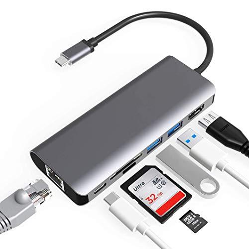 ILLIMITY Hub USB C Adattatore Multiporta | porte da USB C a USB 3.0 | Accessori per Macbook Air / Pro 2020 | Porta Ethernet Mac |Ingresso HDMI 4K | SDHC | Micro SD | 7 in 1 |