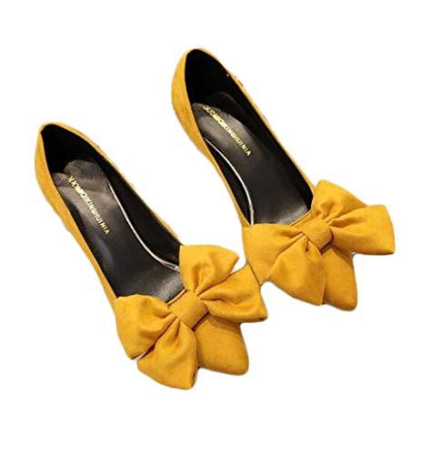 [ジャング] リボン パンプス 靴 レディース ポインテッドトゥ ハイヒール 美脚 フォーマル シンプル 歩きやすい 蝶結びパンプス 可愛いイエロー22.5