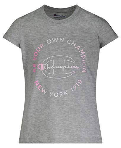 Champion Girls Heritage Short Sleeve Script Logo Tee Shirt Big and Little Girls (Large, Oxford Heather BYOC)