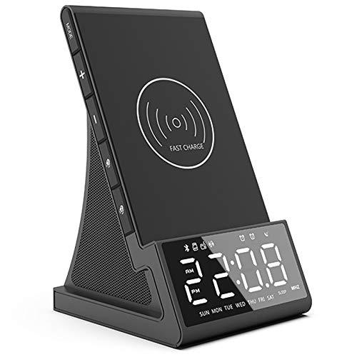 Reloj despertador con cargador inalámbrico con base de carga inalámbrica, altavoz Bluetooth, luz nocturna, cargador rápido USB, altavoz portátil