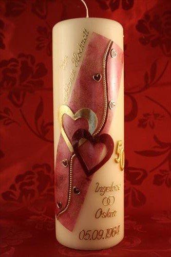 Kerze goldene Hochzeit mit Namen & Datum GH-28w in verschiedenen Farben