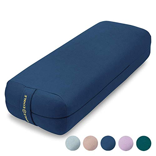 AJNA Yoga Bolster Pillow for Meditation and Support - Rectangular Yoga Cushion - Yoga Accessories from Machine Washable with Carry Handle (Sapphire)