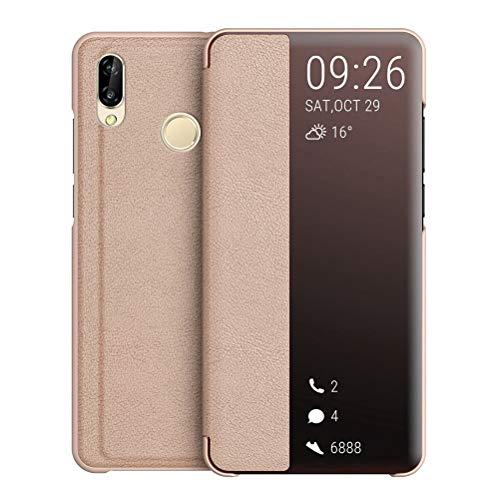 UBERANT Capa para Huawei P20 Lite, capa protetora ultrafina de policarbonato rígido, função de suporte, à prova de choque, transparente, capa protetora para Huawei P20 lite/Nova 3e de 5,7 polegadas - Rosa