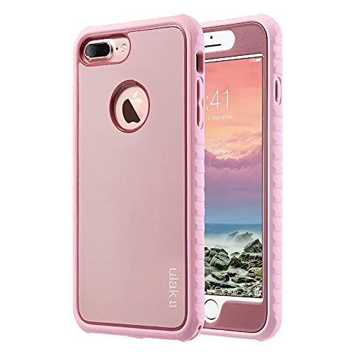 ULAK iPhone 7 Plus Case, Shockproof TPU Bumper Cover with Front Frame Heavy Duty Protection, Durable Anti-Slip Protective Phone Case Hard Shell Designed for Women Girls, Rose Gold