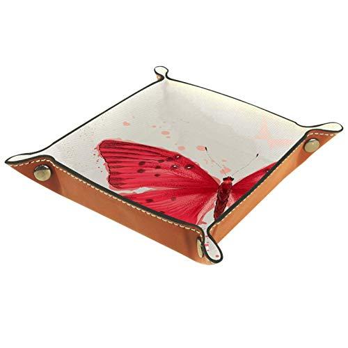 Bandeja de Cuero Una mariposa roja Almacenamiento Bandeja Organizador Bandeja de Almacenamiento Multifunción de Piel para Relojes,Llaves,Teléfono,Monedas