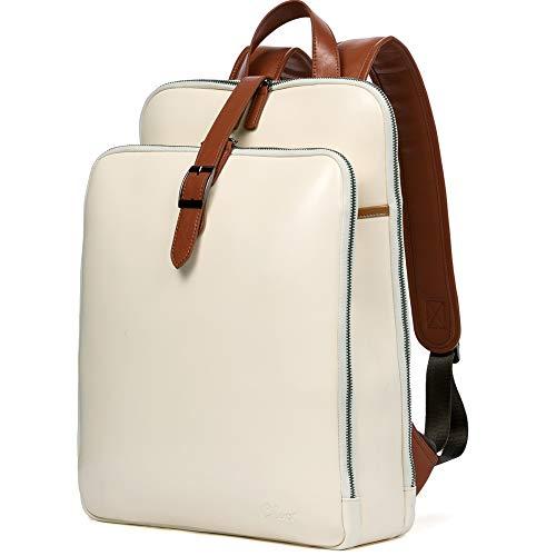 CLUCI Damen Rucksack Echtleder Groß Laptoptasche für 15.6 Zoll Frauen Reisetasche Vintage Arbeitstasche Schultertasche Beige mit Braun