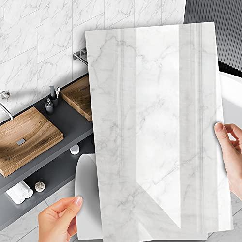 azulejos adhesivos cocina,3 piezas de pegatinas de azulejos de mármol de imitación de cocina, pegatinas de pared decorativas impermeables para baños y aseos
