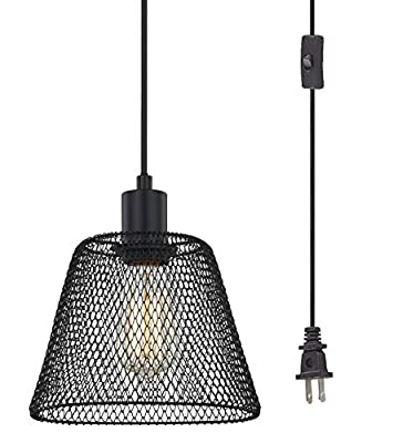 WOXXX Black Cage Plug in Pendant Light with Metal Shade, Farmhouse Pendant Lighting Plug in for Kitchen Island Living Room Bedroom, Industrial Chandelier 1-Light Hanging Lamp, in-Line On/Off Switch