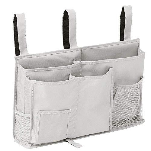 ベッド サイド ポケット テーブル整理 小物収納 収納ポケット 吊り下げ式 リモコンラック 収納 小物入れ 便利グッズ ストレージバスケット フック付き ポケット8個 ベッドサイドキャディー グレー テーブル掛け袋