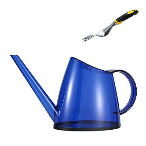 Canghai Yingdidujic Gießkanne und Schaufel, 1,4 l, Kunststoff, für den Außenbereich, leicht, mit Griff für Garten, Haus, Blume, Bonsai-Pflanze (blau)