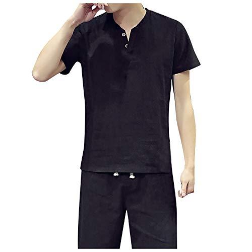 nopinpai Herren Sommer T-Shirt Zweiteiliger Leinenhemd-Shorts-Set Bequem Kurzarm Leinen Hemd Sommerhemd mit Kurz Hosen Tshirt Freizeit Hausanzug Loose Fit Männer Freizeithemd Basic Shirt
