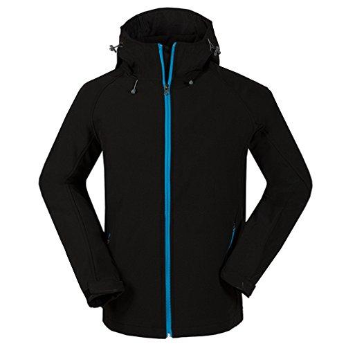 emansmoer Homme Veste Softshell Chaud Doublé Polaire Coupe-Vent Imperméable Outdoor Sport Veste de Camping Randonnée (Medium, Noir)