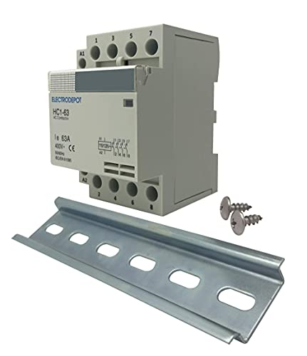Electrodepot 60 Amp 4 Pole Normally Open Contactor, 110-120V Coil, Motor Load 40A, Lighting 63A Bundle with Slotted Steel Zinc Plated DIN Rail, 35 mm x 6 in – 1 Piece with 2#10 Screws