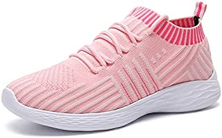 ZJSWIN Large Size Women's Shoes New Women's Student Breathable Sports Shoes Breathable Socks Shoes (Color : Pink, Size : 36EU)