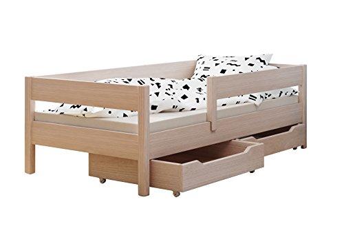 Kinderbett mit Schubladen und Matratze, 4 Farben, viele verschiedene Größen (200 x 90 cm, Eiche gebleicht)