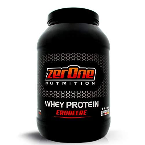 ZerOne Nutrition Whey Protein Eiweißpulver   Natürliche Zutaten   hochwertiges Proteinpulver   Low Carb Eiweiß-Shake   Muskelaufbau Fitness Training  1000g (Erdbeere)
