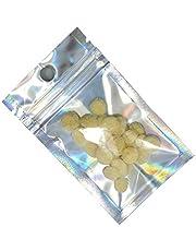 CPXUP2 100PCS Claro Delantero Volver reluciente de Papel de Aluminio Zip Frijoles Paquete de Bloqueo Bolsa de Joyas de la Especia de Caramelo Bolsa de Almacenamiento electrónico de la Bolsa de Mylar