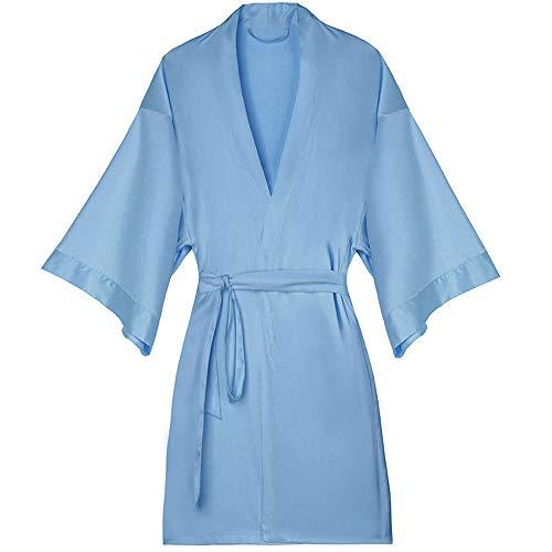 Vrouwen Sexy pyjama's vrouwelijke zomer ijs zijde nachtjapon badjas ochtendjas korte mouwen blauwe casual homewear dunne sectie,L