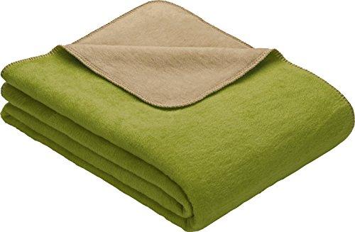 Erwin Müller Wohndecke, Wolldecke grün/Sand Größe 150x230 cm - weich, temparaturausgleichend, atmungsaktiv, hautfre&lich (weitere Farben, Größen)