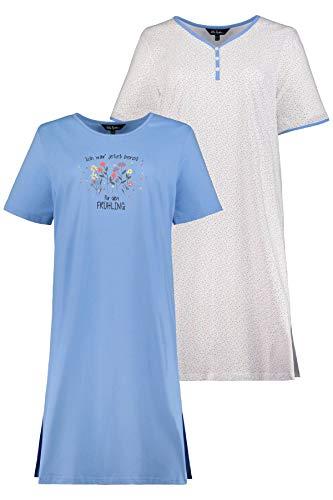 Ulla Popken Damen große Größen Big-Shirt 2er Pack, Frühling Nachthemd, Mehrfarbig (Multicolor 72793190), 42-44