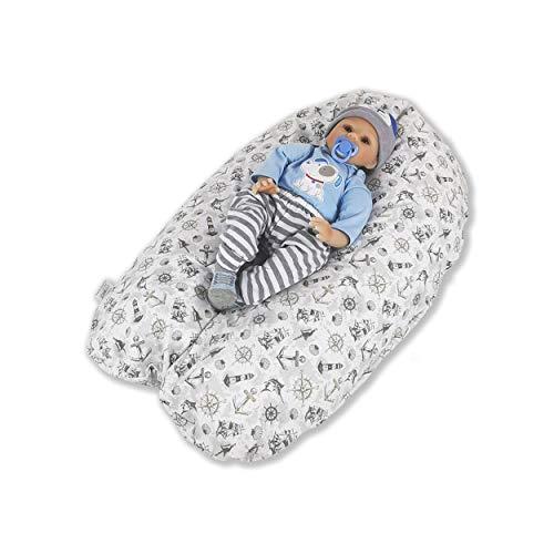 CorpoMED Stillkissen Maxi 194x35cm inkl. Bezug (Maritim) , handgenäht aus Deutschland, waschbarer Bezug aus 100% Baumwolle, verwendbar als Schwangerschafts-Kissen und Lagerungskissen