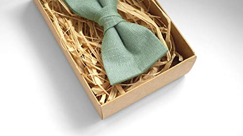 Sage green wedding bow ties for groomsmen and boys or toddlers made from eco friendly linen/Eco Friendly Linen bow tie gift for groomsmen
